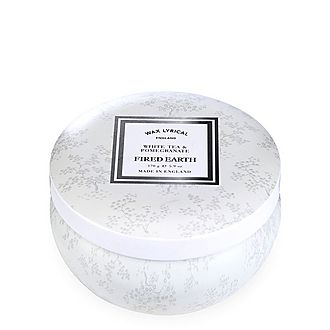 Fired Earth White Tea and Pomegranate Candle Tin