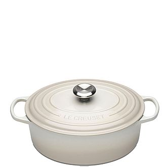 Signature Cast Iron Oval Casserole 29cm Meringue