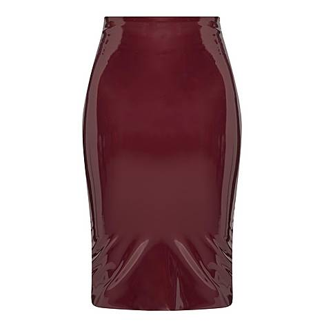 Faux Patent Leather Skirt, ${color}