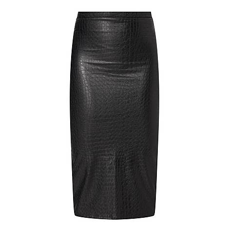Croc Faux Leather Skirt, ${color}