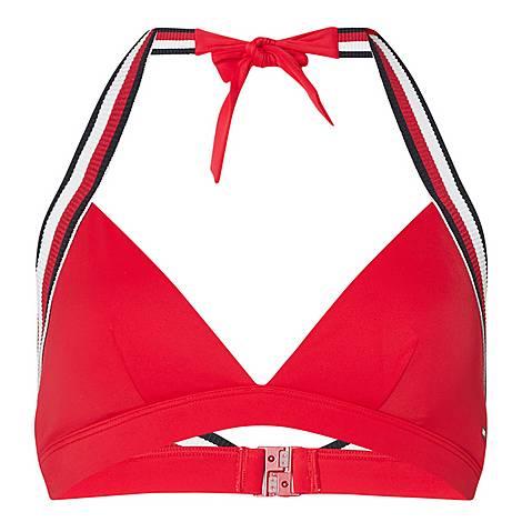 Tricolour Tape Halter Neck Bikini Top, ${color}