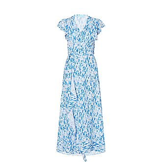 Tie-Dyed Ruffled Maxi Dress