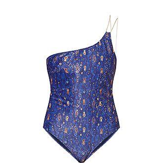 Edie Printed Off-Shoulder Swimsuit