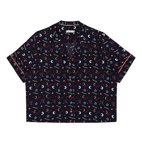 Satin Space Print Pyjama Top, ${color}