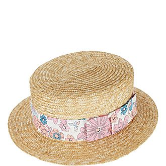 Floral Band Straw Boater Hat