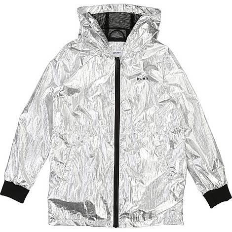 Silk Metallic Hooded Jacket, ${color}