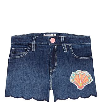 Shell Patch Denim Shorts