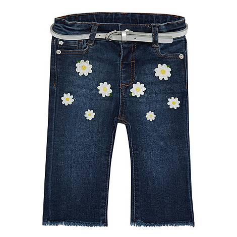 Daisy Embroidered Cropped Jeans, ${color}