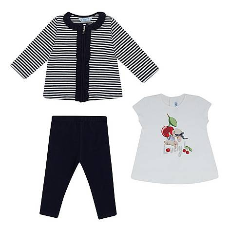 Three-Piece Cherry Print T-shirt, Cardigan and Leggings Set, ${color}
