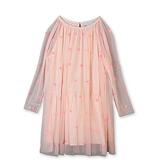 Hearts Embroidery Tulle Dress