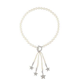 Crystal Pearl Star Tassel Necklace