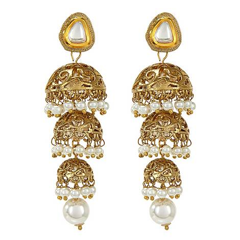 Dia Pearl & Gold Earrings, ${color}