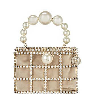 Holli Pearl Embellished Brass Cage Bag