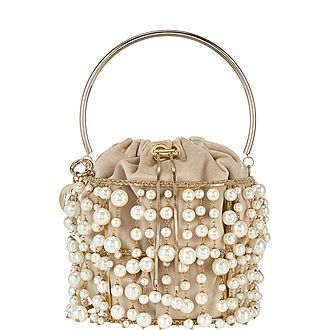 Rea Pearl-Embellished Bucket Bag
