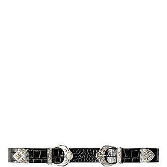 Double Scalloped-Buckle Leather Belt