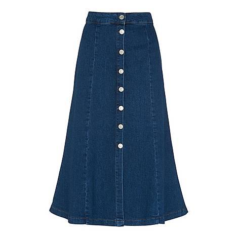 Denim Button-Through Skirt, ${color}