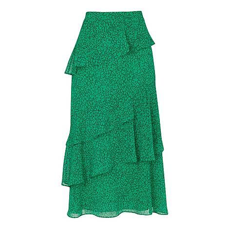 Sketched Floral Tiered Skirt, ${color}
