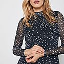 Spot Mesh Midi Dress, ${color}