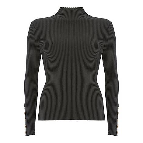 Ribbed Button Sweater, ${color}