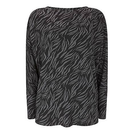 Zebra Print Batwing Top, ${color}