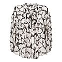 Olivia Print Zip Front Blouse, ${color}
