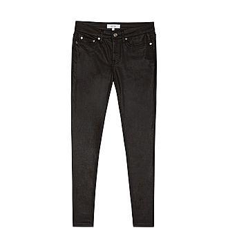 Lux Metallic Mid-Rise Skinny Jeans