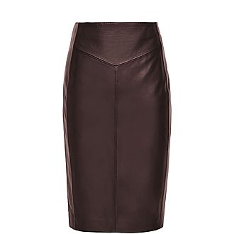 Megan Leather Ponte Pencil Skirt