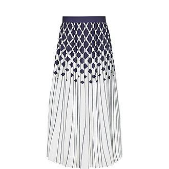 Printed Knife-Pleat Midi Skirt