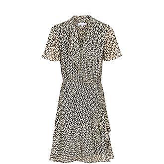 Paris Printed Ruffle-Trim Chiffon Dress