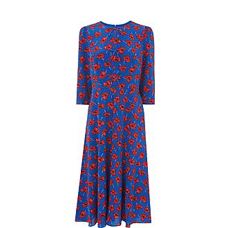 Alicia Poppy Print Silk Tea Dress