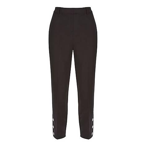 Button Hem Capri Trousers, ${color}