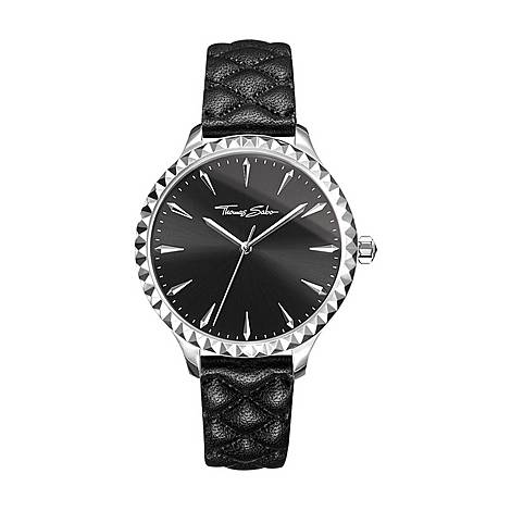 Pyramid Studs Leather Watch, ${color}