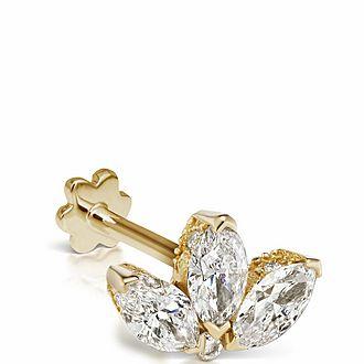 4mm Diamond Engraved Lotus Threaded Stud