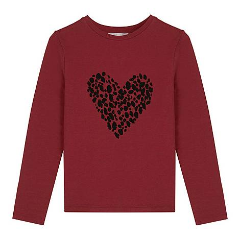 Berry Heart Motif Jersey Top, ${color}