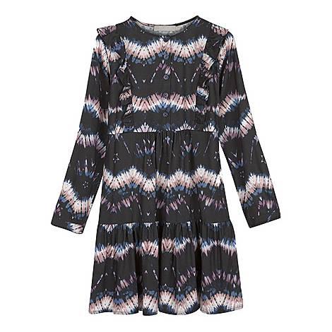 Tie-Dye Print Ruffle Dress, ${color}