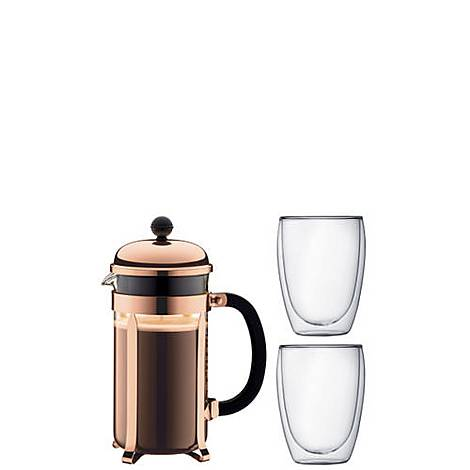 8-Cup Chambord Coffee Press and Pavina Glasses, ${color}