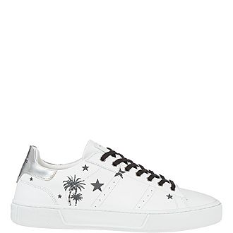 Star Print Leather Tennis Trainers