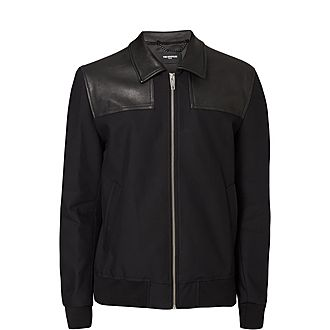 Cotton and Leather Bomber Jacket