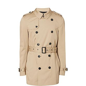 Short Double-Breasted Trench Coat