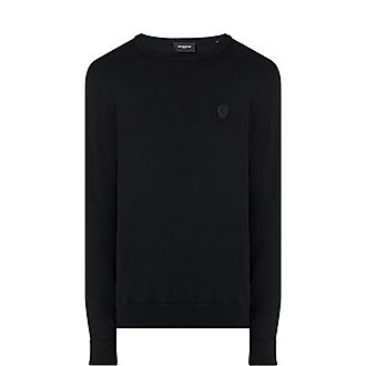 Skull Elbow Patch Sweater