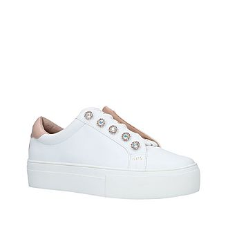 Liviah White Leather Studded Trainers