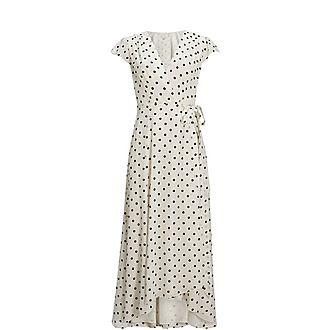Cohline Spotted Dip Hem Maxi Dress