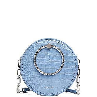 Millah Circle Leather Exotic Crossbody Bag