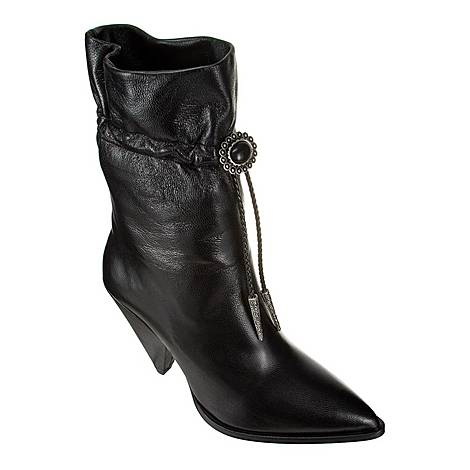 High-Heeled Leather Cowboy Boots, ${color}
