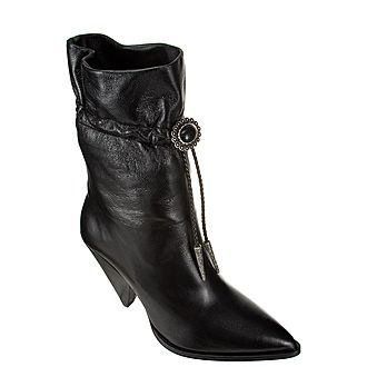 High-Heeled Leather Cowboy Boots