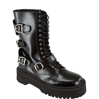 Laced Buckled Leather Boots