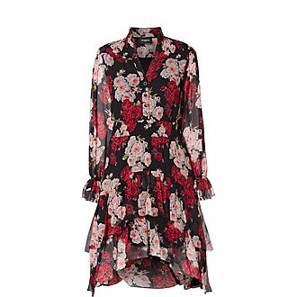 Floral Print Frilled Dress