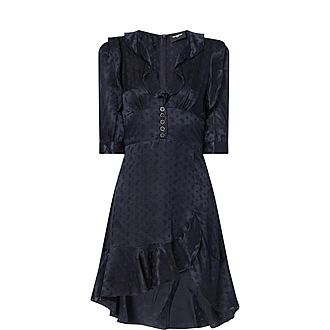 Polka Dot Frill Silk Dress