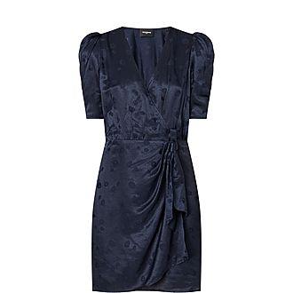 Jacquard Silk-Blend Wrap Dress