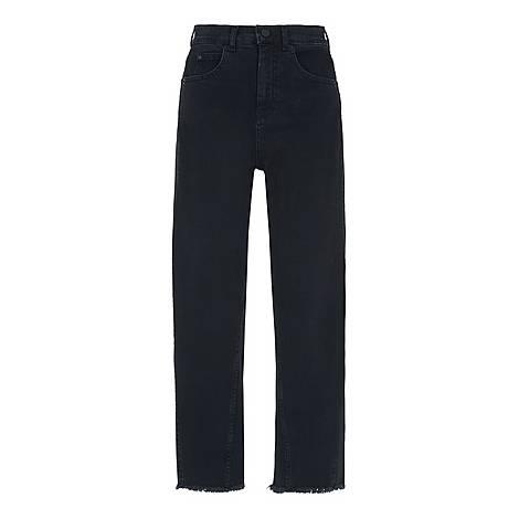 Barrel Leg Raw Hem Jeans, ${color}